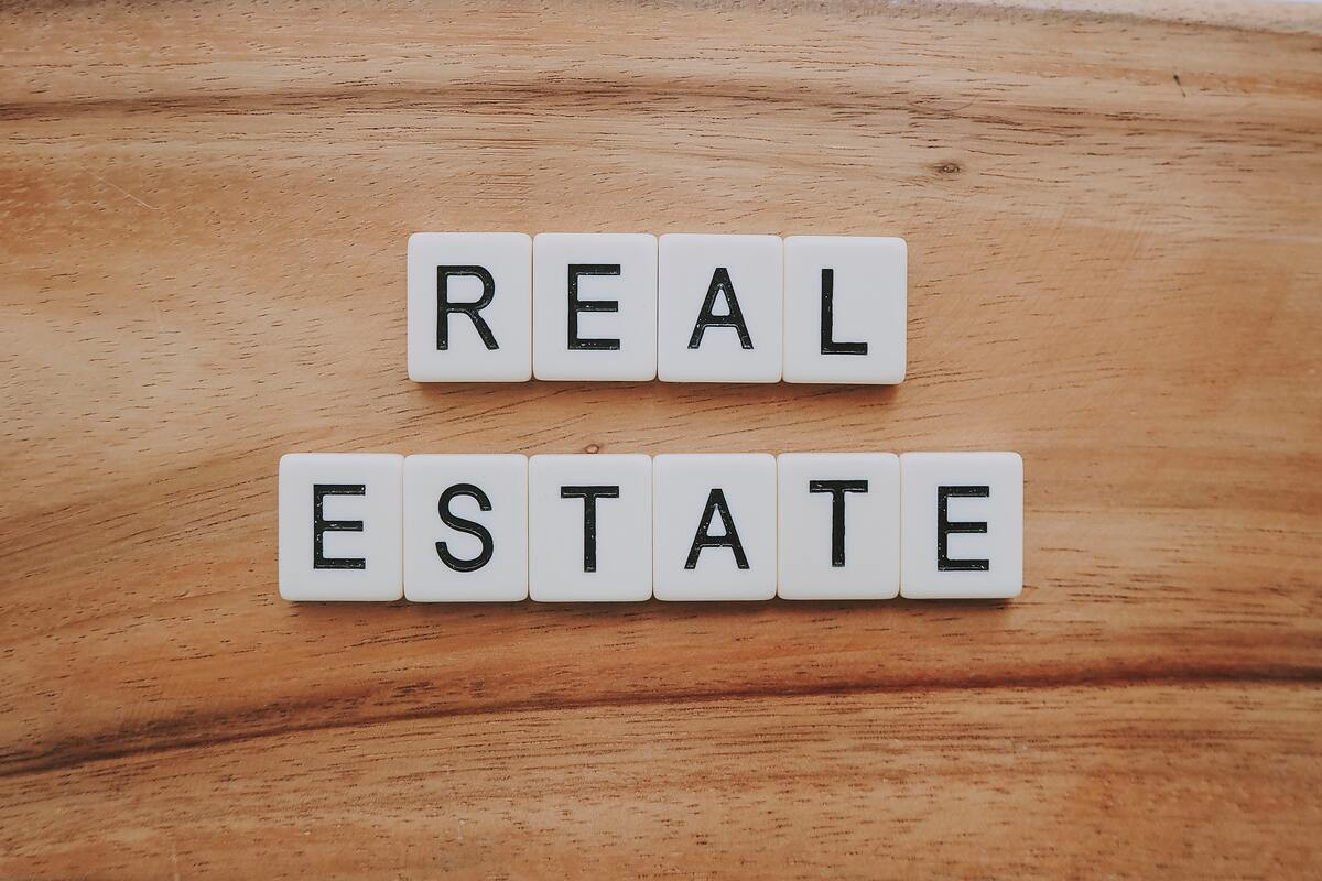 Real estate words collection on table