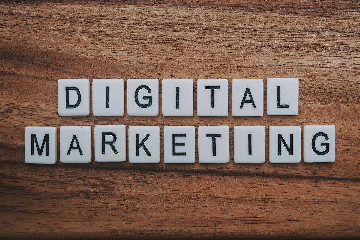 Digital marketing words collection on the table