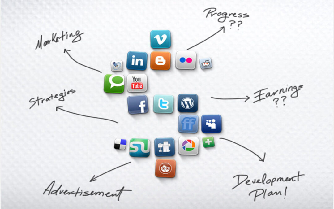 Social media icons on white background and marketing strategies steps names