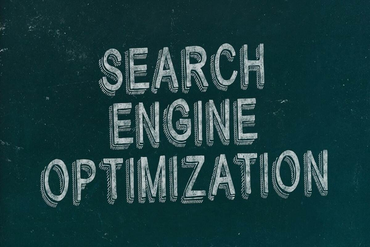 search engine optimization text in white on green background